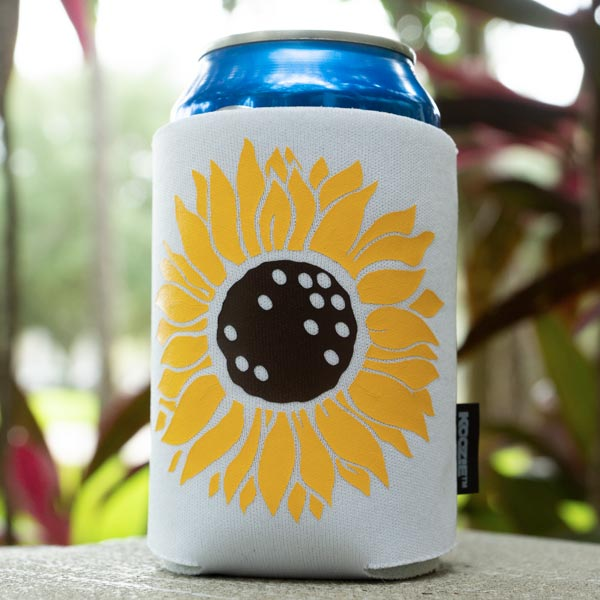 Koozie® can cooler DIY sunflower outside