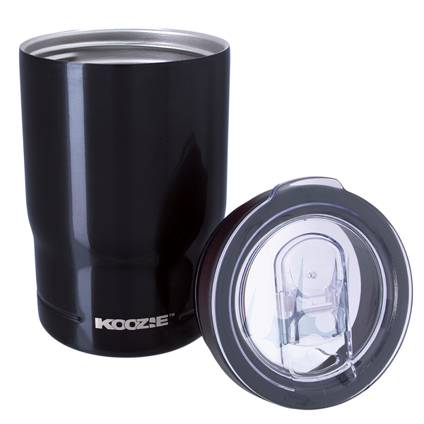 Koozie® Stainless Steel Insulated Triple Can Cooler 12 oz Black with lid