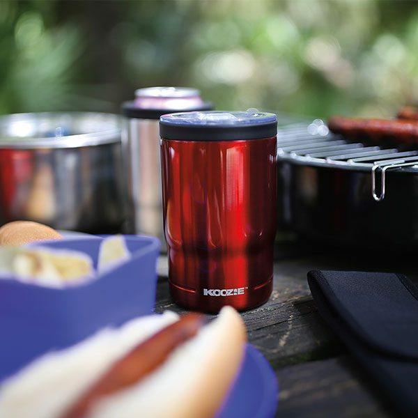 Koozie® Stainless Steel Insulated Triple Can Cooler 12 oz Red on picnic table