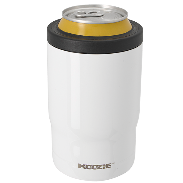 Koozie® Stainless Steel Insulated Triple Can Cooler 12 oz White with can