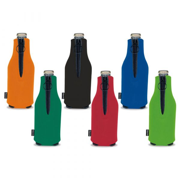 Koozie® Foam Zip-Up Bottle Cooler - Assorted Back